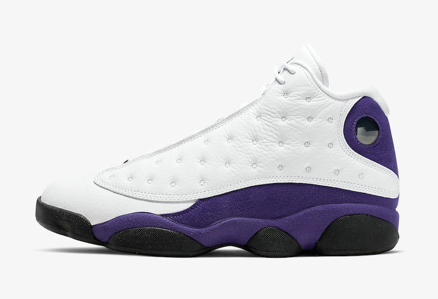 2021 Cheap Wholesale Nike Air Jordan 13 Lakers White Black-Court Purple-University Gold 414571-105