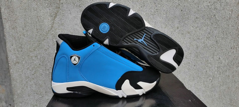 2021 Cheap Wholesale Nike Air Jordan 14 Blue Black White