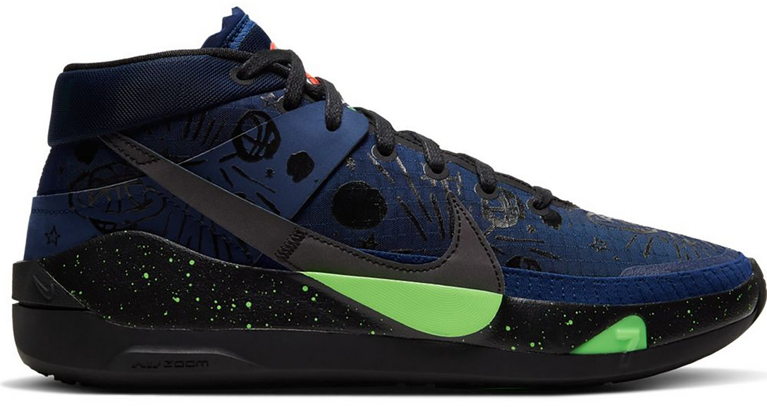 2021 Cheap Wholesale Nike KD 13 Planet of Hoops Midnight Navy Black Electric Green CI9948-400