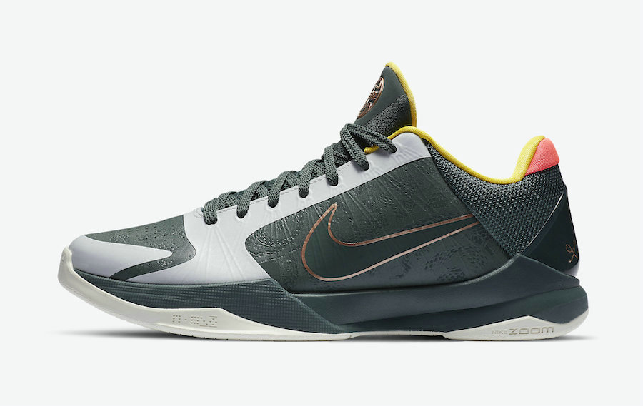 2021 Cheap Wholesale Nike Kobe 5 Protro EYBL Forest Green Metallic Red Bronze-Speed Yellow-Forest Green CD4991-300