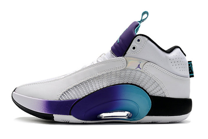 2021 Kids Cheap Wholesale Nike Air Jordan 35 XXXV Fresh Prince White Grape Ice-Black-New Emerald