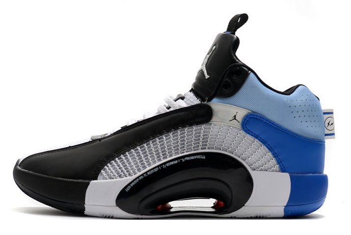 2021 Kids Cheap Wholesale Nike Fragment X Air Jordan 35 White Black-Sport Blue DA2371-100