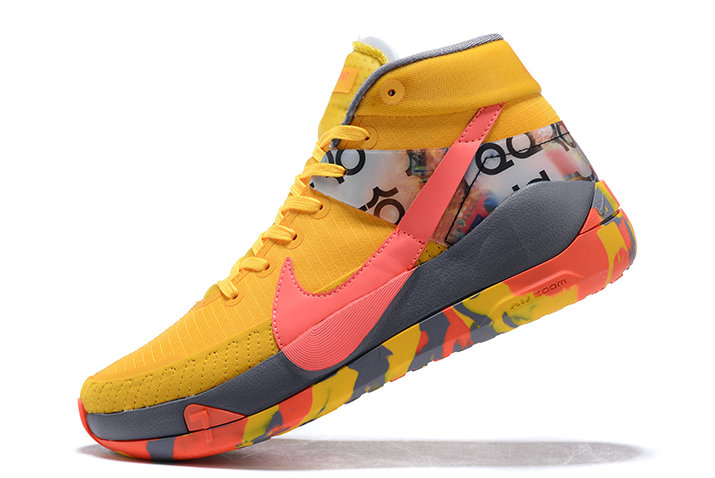 2021 LATEST RELEASE NIKE KD 13 BRIGHT YELLOW GREY-PINK SHOES FOR MEN