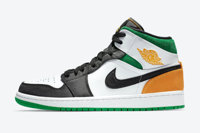 2021 Where To Buy Cheap Wholesale Air Jordan 1 Mid SE White Black Green Yellow 852542-101