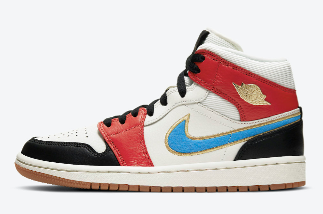 2021 Where To Buy Cheap Wholesale Nike Air Jordan 1 Mid Sail Red Black Blue Gold DC1426-100