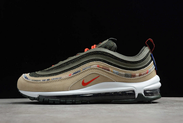 2021 Where To Buy Cheap Nike Air Max 97 By You Pendleton Black Olive Army Green Orange DC3494-992