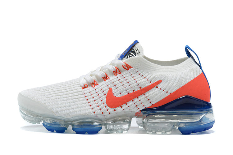 2021 Where To Buy Cheap Wholesale Nike Air VaporMax Flyknit 3.0 White Blue Game Orange
