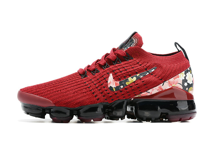 2021 Where To Buy Cheap Wholesale Womens Nike Air VaporMax Flyknit 3.0 Red Black Flower Print