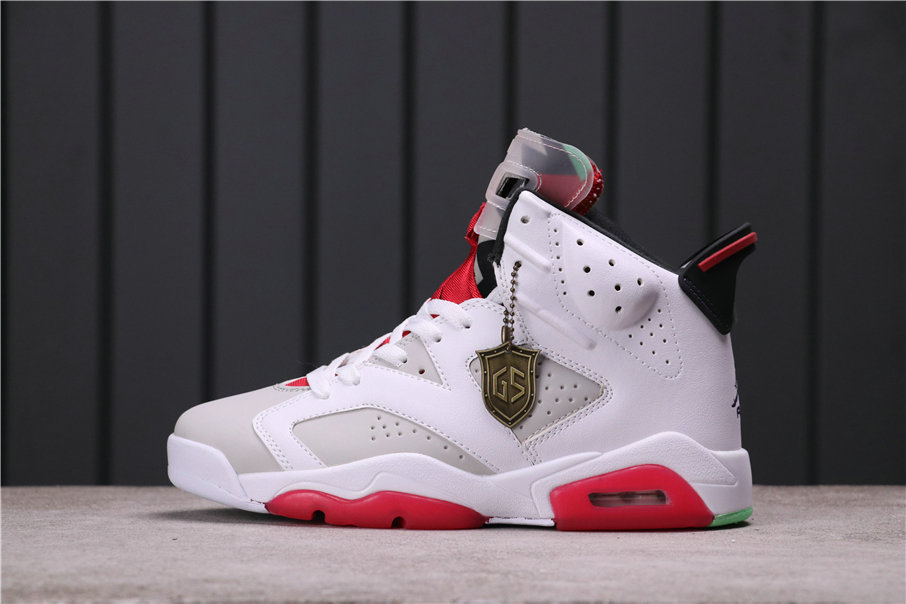 2021 Where To Buy Womens Cheap Air Jordan 6 Hare Neutral Grey White-True Red-Black CT8529-062