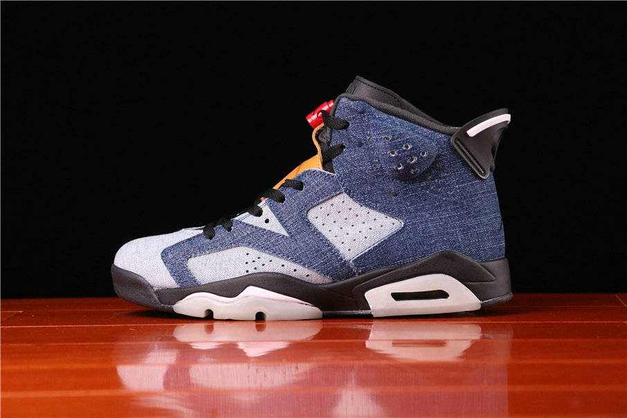 2021 Where To Buy Womens Cheap Air Jordan 6 Washed Denim Sail-Varsity Red-Black CT5350-401