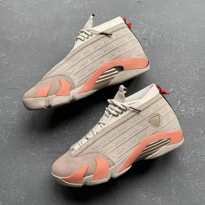 2021 Where To Buy Womens Cheap CLOT x Air Jordan 14 Low SP Sepia Stone Terra Blush-Desert Sand DC9857-200
