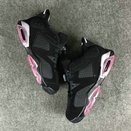 Air Jordans Cheap Wholesale Nike Air Jordan 6 Womens Black White Pink