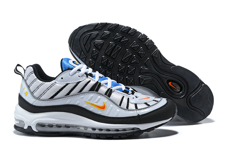Air Maxs Cheap Wholesale Nike Air Max 98 White Tour Yellow-Midnight Navy