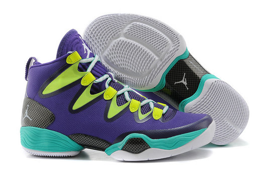 Cheap Wholesale Air Jordan 28 Retro Purple Green Blue Grey White
