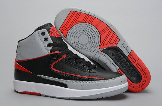 Cheap Wholesale Air Jordan 2s Black Grey Red
