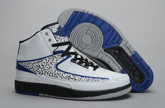 Cheap Wholesale Air Jordan 2s White Blue Black