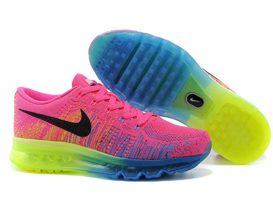 Cheap Wholesale Flyknit Air Max 2014 Womens Pink Black Blue Green