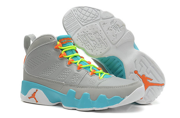 Cheap Wholesale Jordan 9 Women Grey Blue Green Orange