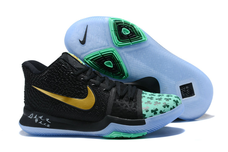 Cheap Wholesale Kyrie 3 Nike Kyrie Irving 3 Air Cushion Gold Black Green