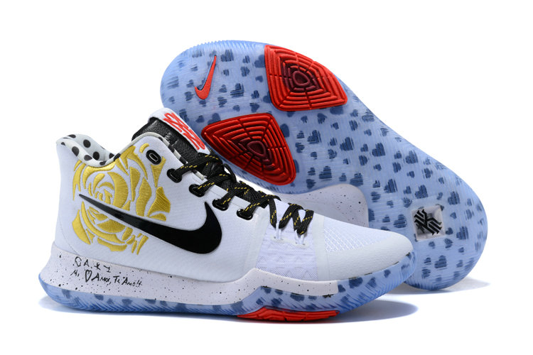 Cheap Wholesale Kyrie 3 Nike Kyrie Irving 3 Air Cushion Gold Black White Red