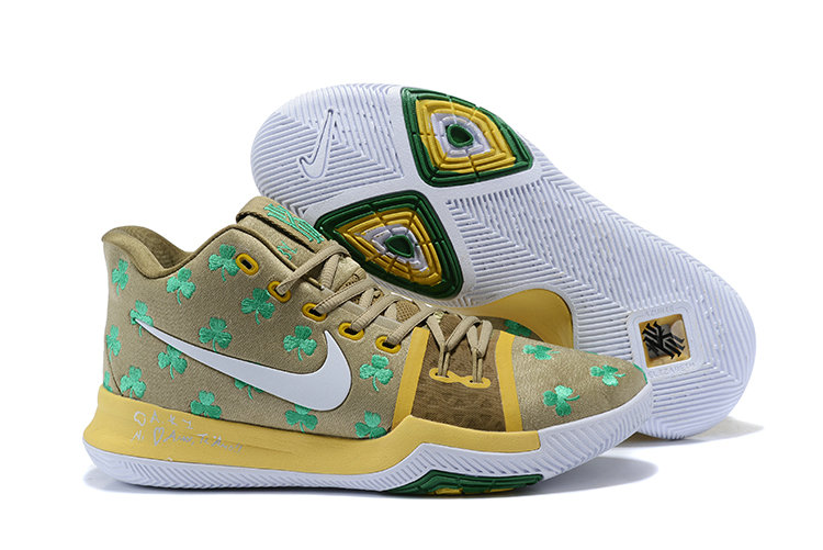 Cheap Wholesale Kyrie 3 Nike Kyrie Irving 3 Air Cushion Yellow Brown White Yellow Green