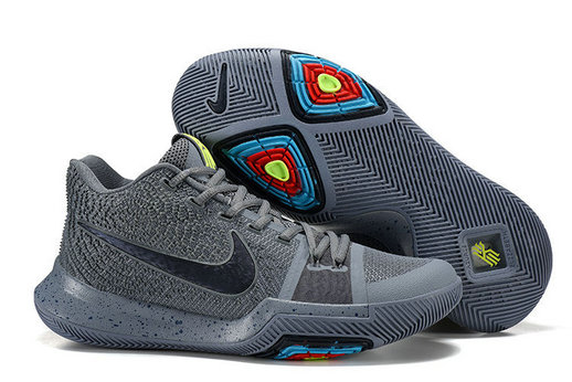 Cheap Wholesale Kyrie Irving 3 (III) Grey Black Basketball Shoes