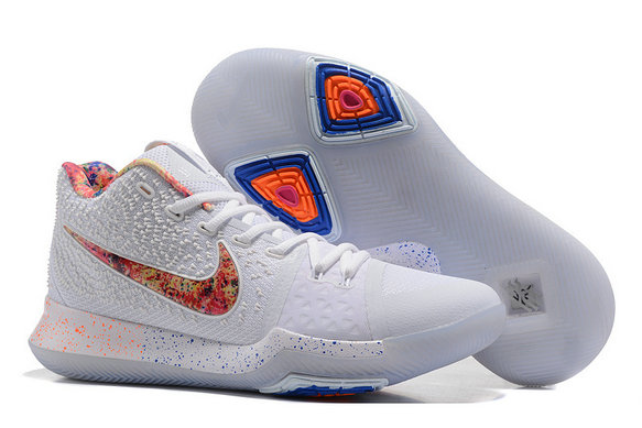 Cheap Wholesale Kyrie Irving 3 (III) White Red Blue Basketball Shoes