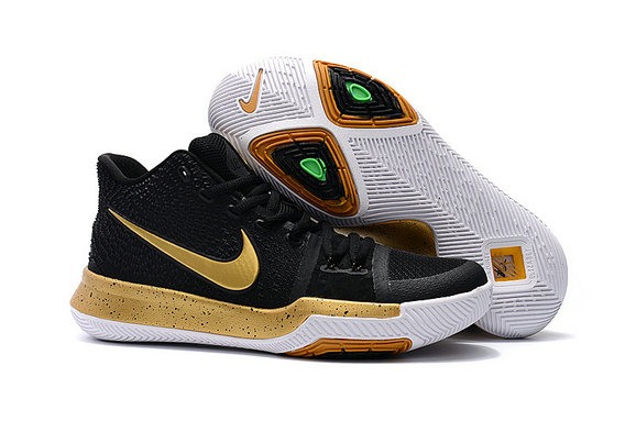 Cheap Wholesale Kyrie Shoes Nike Kyrie Irving 3 Kids Gold Black White