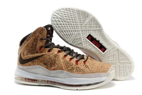 Cheap Wholesale Lebron 10 Cork Suede Brown