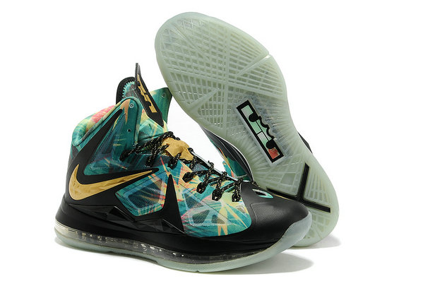 Cheap Wholesale Lebron 10 P.S Elite MVP Shoes Black Gold Blue