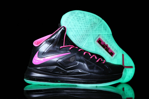 Cheap Wholesale Lebron 10 Shoes Black Pink Green