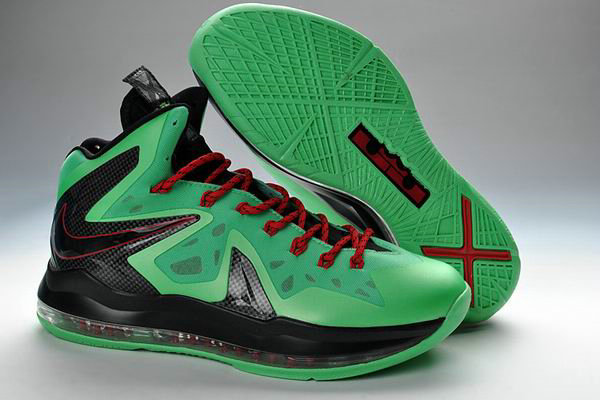 Cheap Wholesale Lebron 10 Shoes For Nike Green Red Black