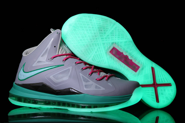 Cheap Wholesale Lebron 10 Shoes Grey Purple Green