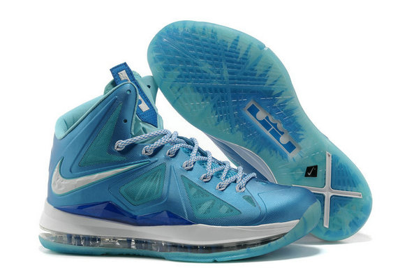 Cheap Wholesale Lebron 10 Shoes Navy Blue And Sky