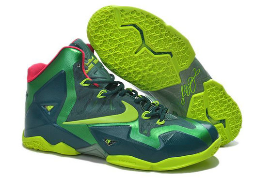 Cheap Wholesale Lebron 11 For Womens Navy Blue Green Pink