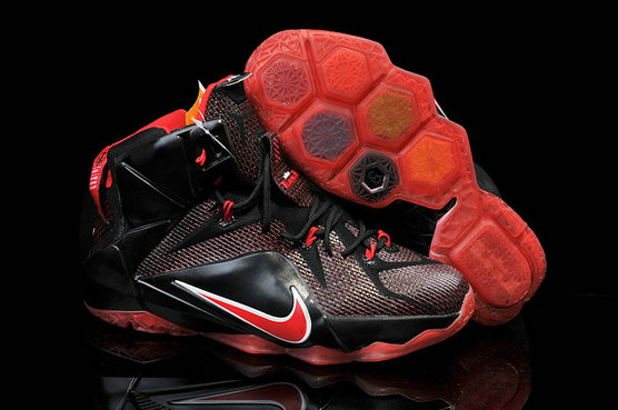 Cheap Wholesale Lebron 12 For Kids Black Fire Red White