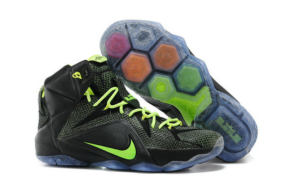 Cheap Wholesale Lebron 12 Womens Black Green