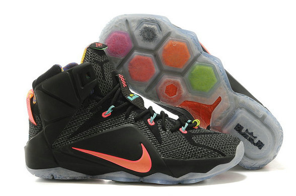 Cheap Wholesale Lebron 12 Womens Black Orange