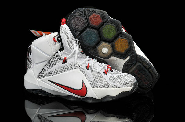Cheap Wholesale Lebron 12 Womens White Red Black