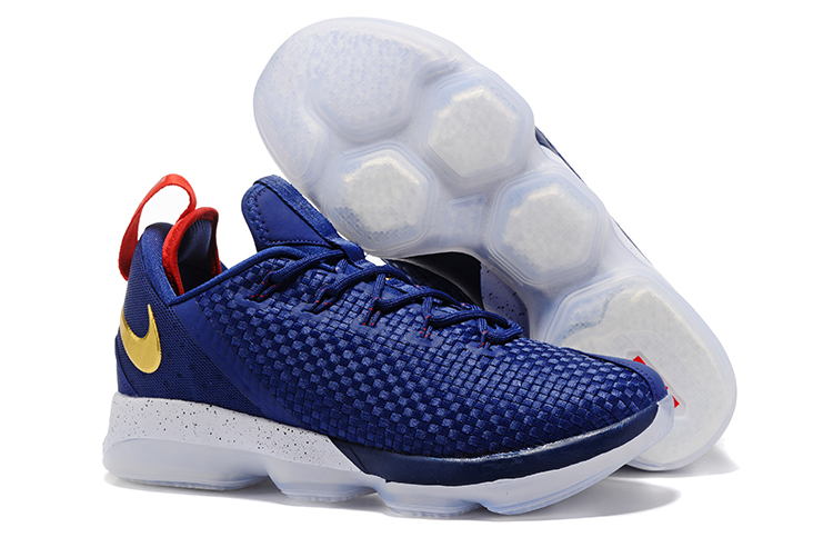 78d44fdad30 Cheap Wholesale Lebron 14 Low Gold Red Blue White Basketball Shoes