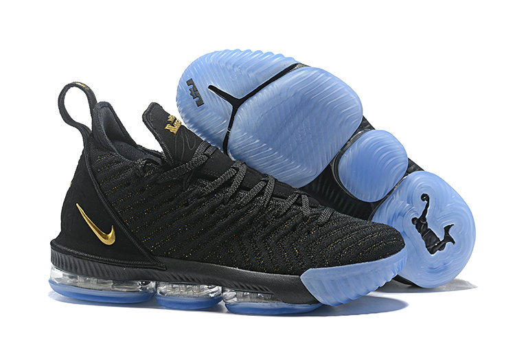 Wholesale Cheap Lebron 16 Shoes Black Gold Light Blue
