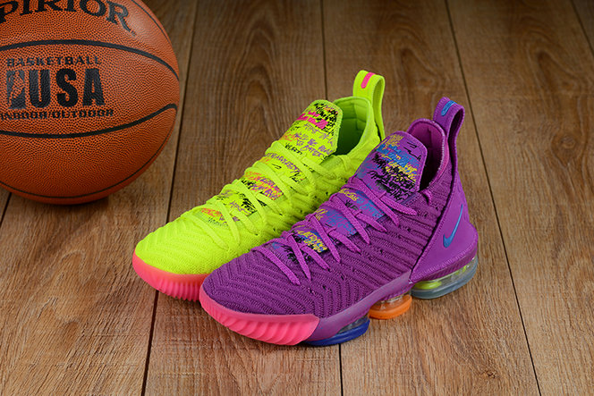 Wholesale Cheap Lebron 16 Shoes Purple Green Pink What The