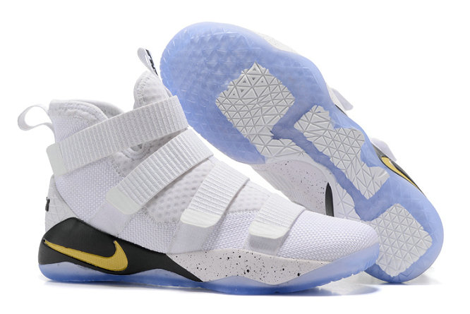 Cheap Wholesale Lebron Soldier 11 White Black Gold