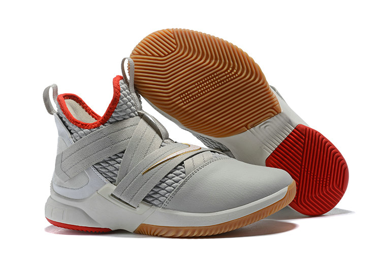 Wholesale Cheap Lebron Soldier 12 Grey Red Gold