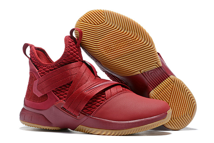 Wholesale Cheap Lebron Soldier 12 Wine Red Gold