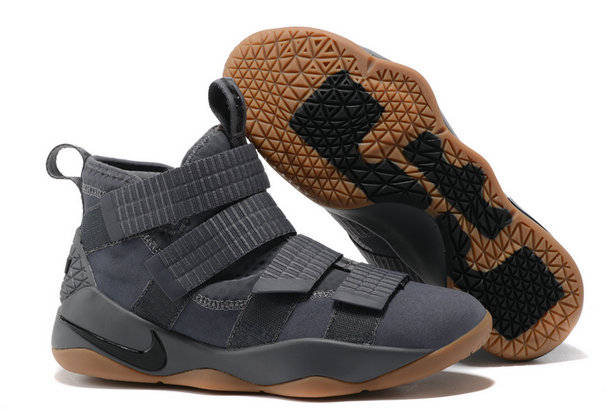 Cheap Wholesale Lebron Soldier Nike Lebron Soldier 11 Grey Black Gold