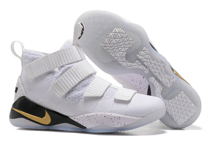 Cheap Wholesale Lebron Soldier Nike Lebron Soldier 11 White Gold Black