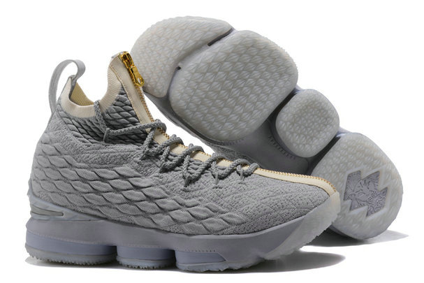Cheap Wholesale Lebrons Nike Lebron 15 Grey Gold