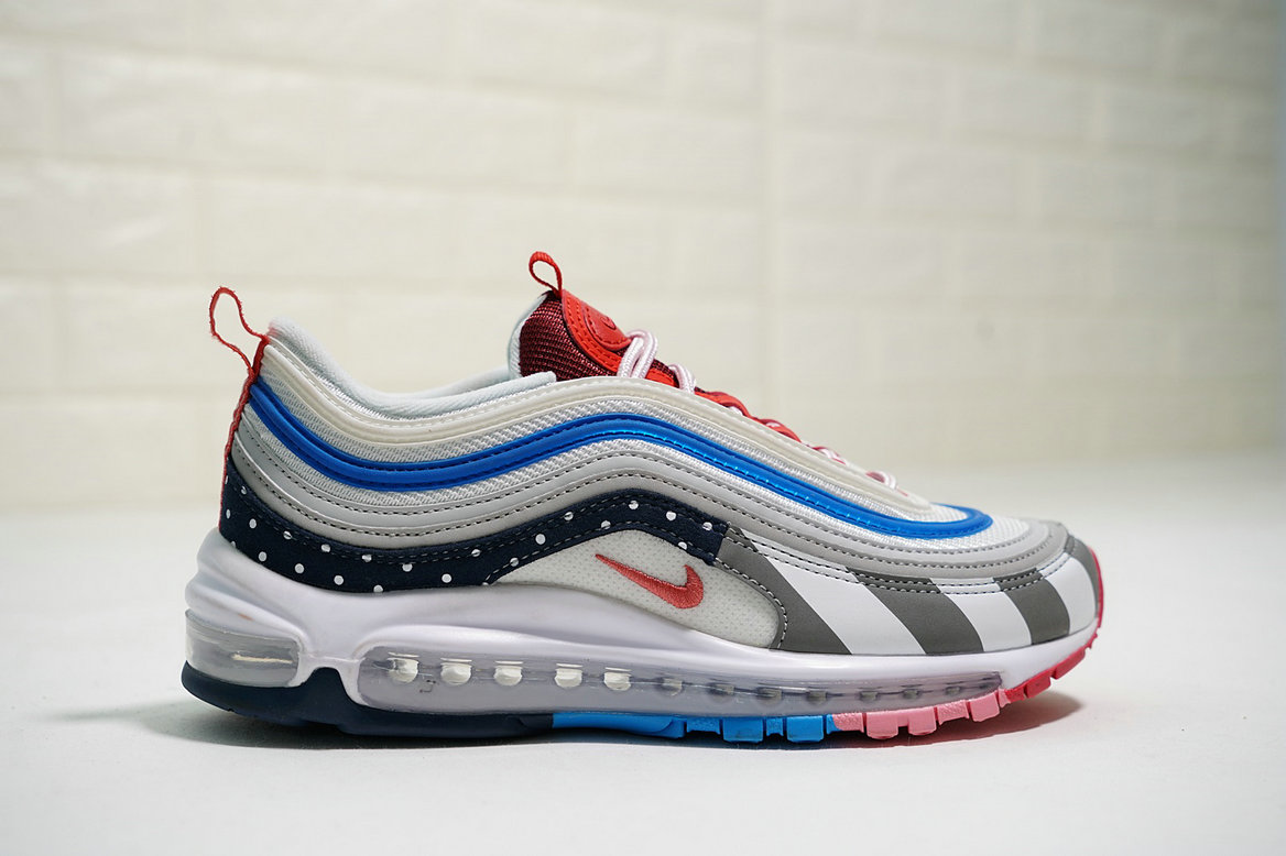 49f9dab230 Wholesale Cheap Mens Parra x Nike Air Max 97 White Pink Blue Red Black