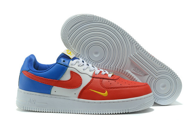 Cheap Wholesale Nike AF1 Mens Nike Air Force One Blue Red White Yellow